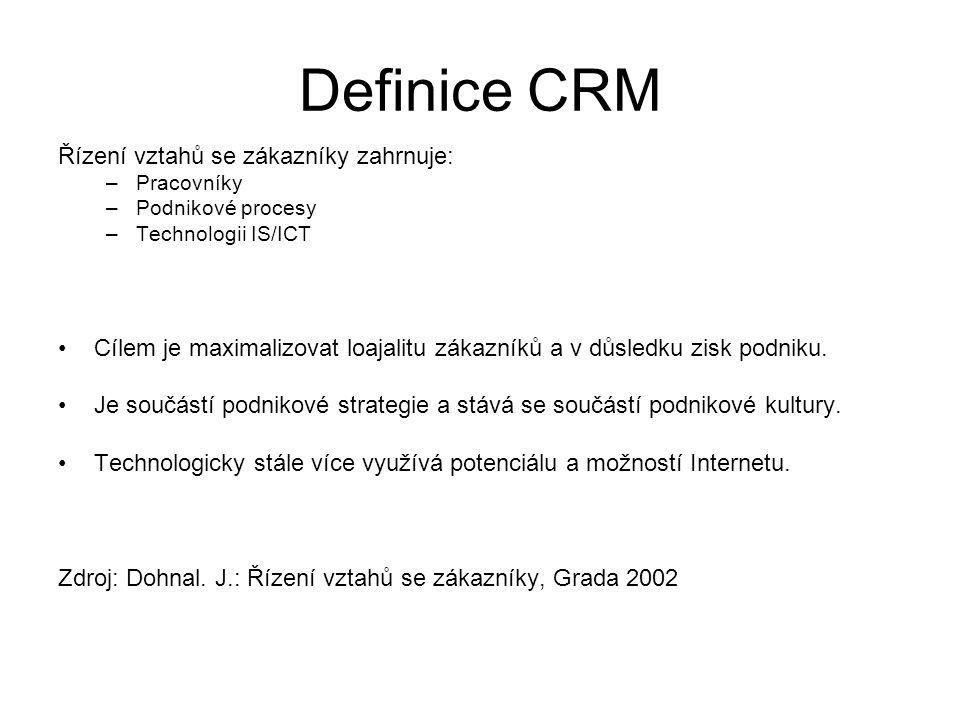 Definice CRM Řízení vztahů se zákazníky zahrnuje: