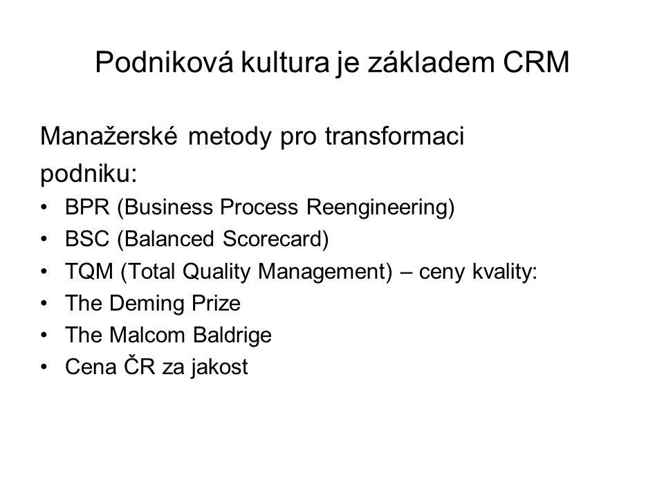 Podniková kultura je základem CRM