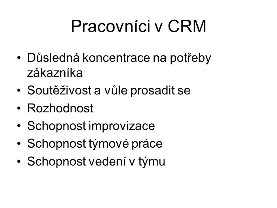 Pracovníci v CRM Důsledná koncentrace na potřeby zákazníka