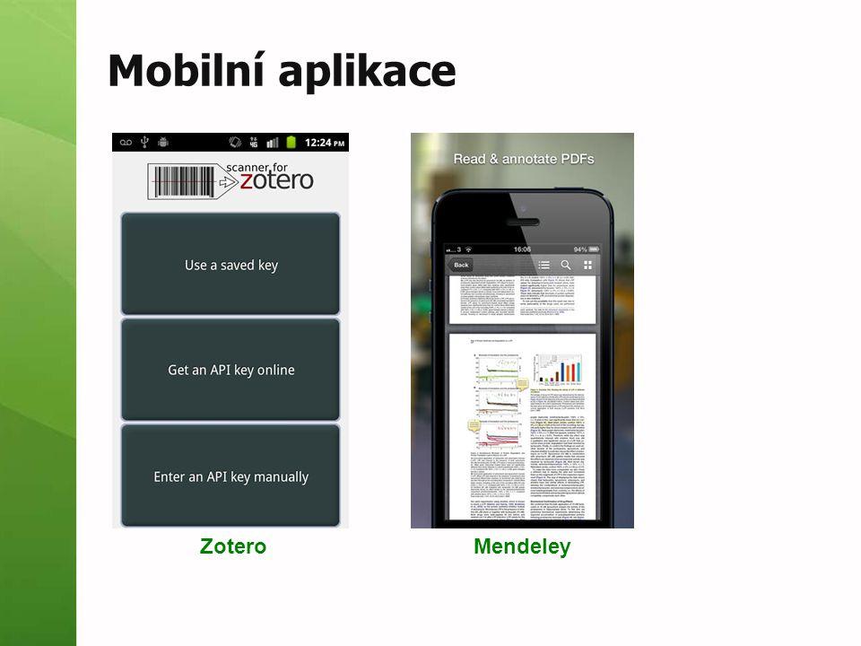 Mobilní aplikace Zotero Mendeley