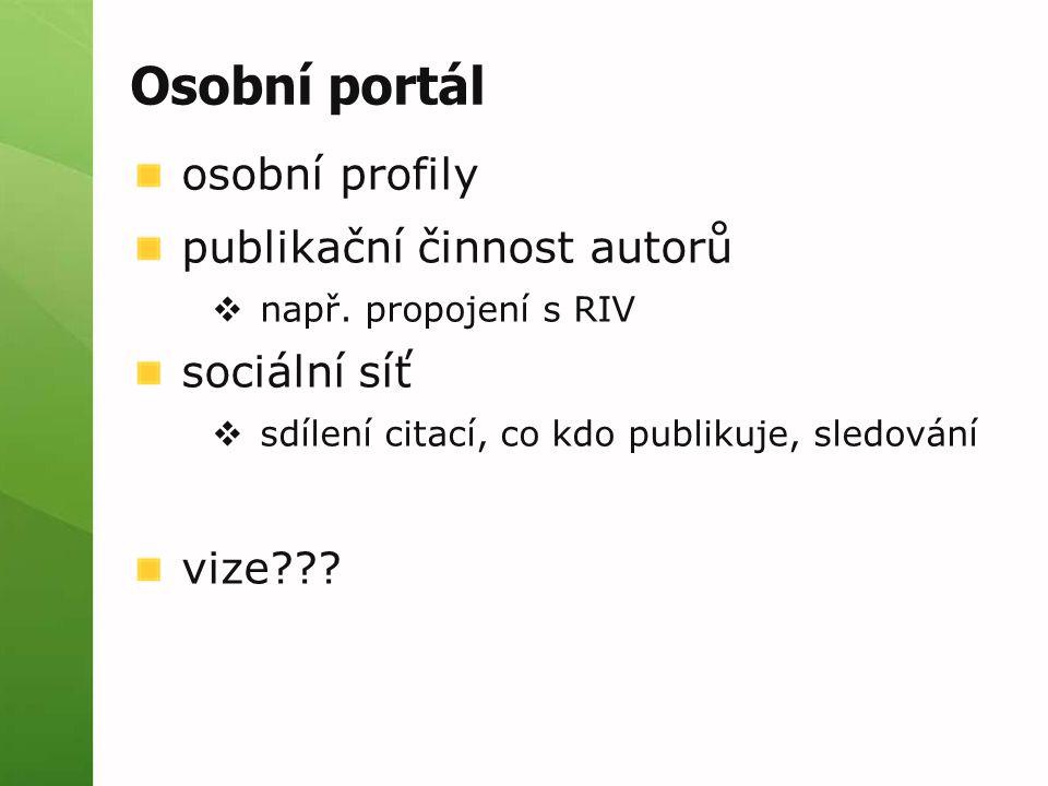 Osobní portál osobní profily publikační činnost autorů sociální síť
