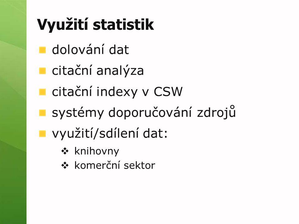 Využití statistik dolování dat citační analýza citační indexy v CSW