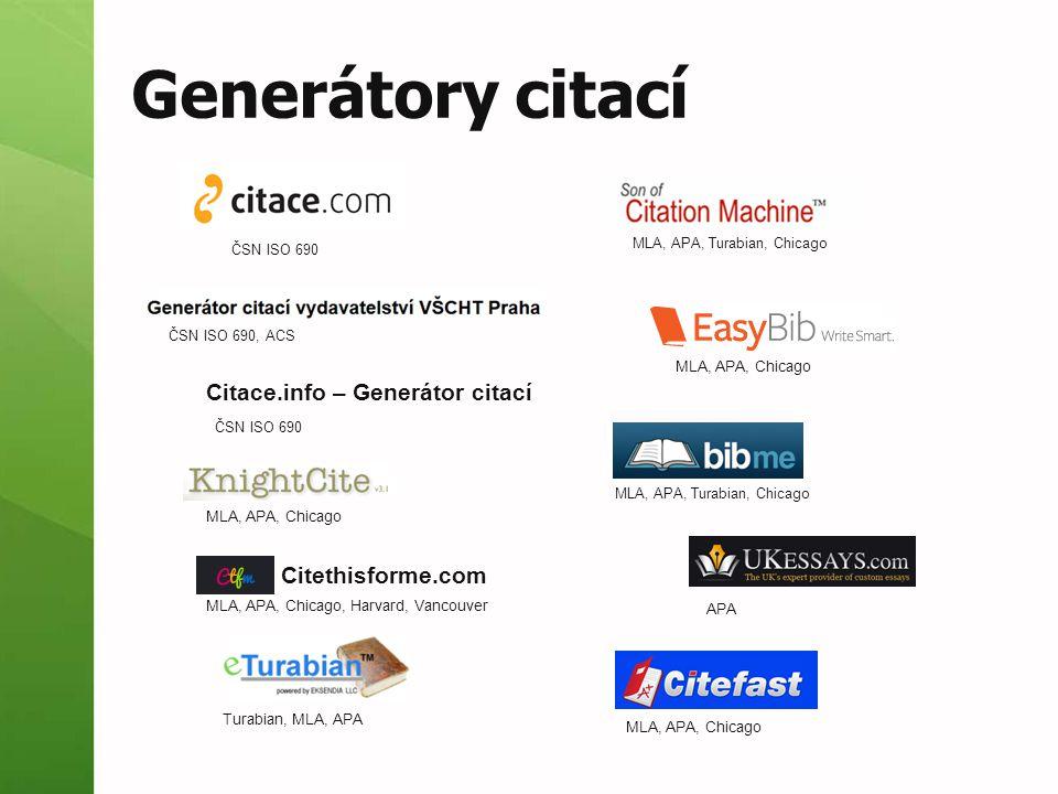 Generátory citací Citace.info – Generátor citací Citethisforme.com