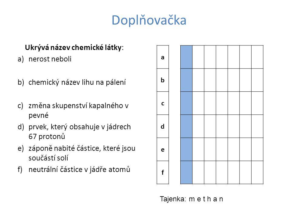 Doplňovačka Ukrývá název chemické látky: nerost neboli