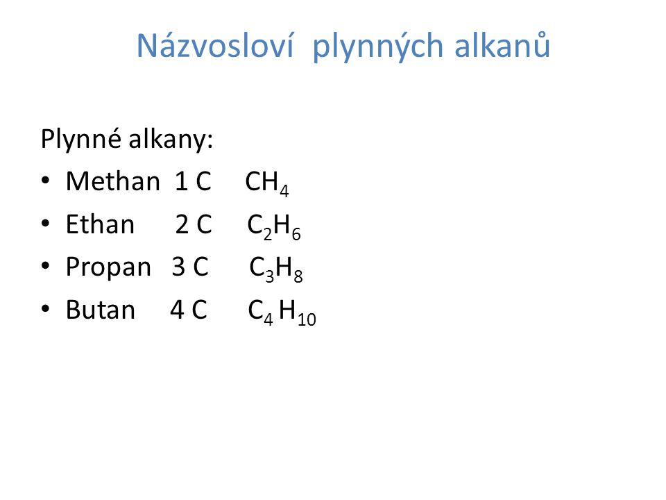 Názvosloví plynných alkanů