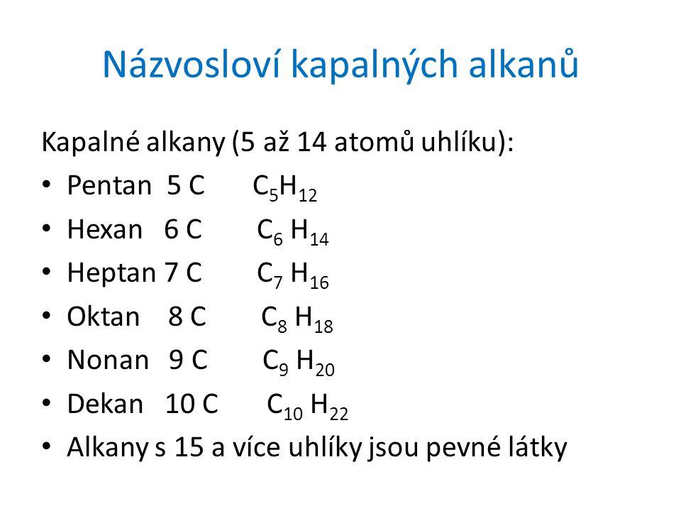 Názvosloví kapalných alkanů