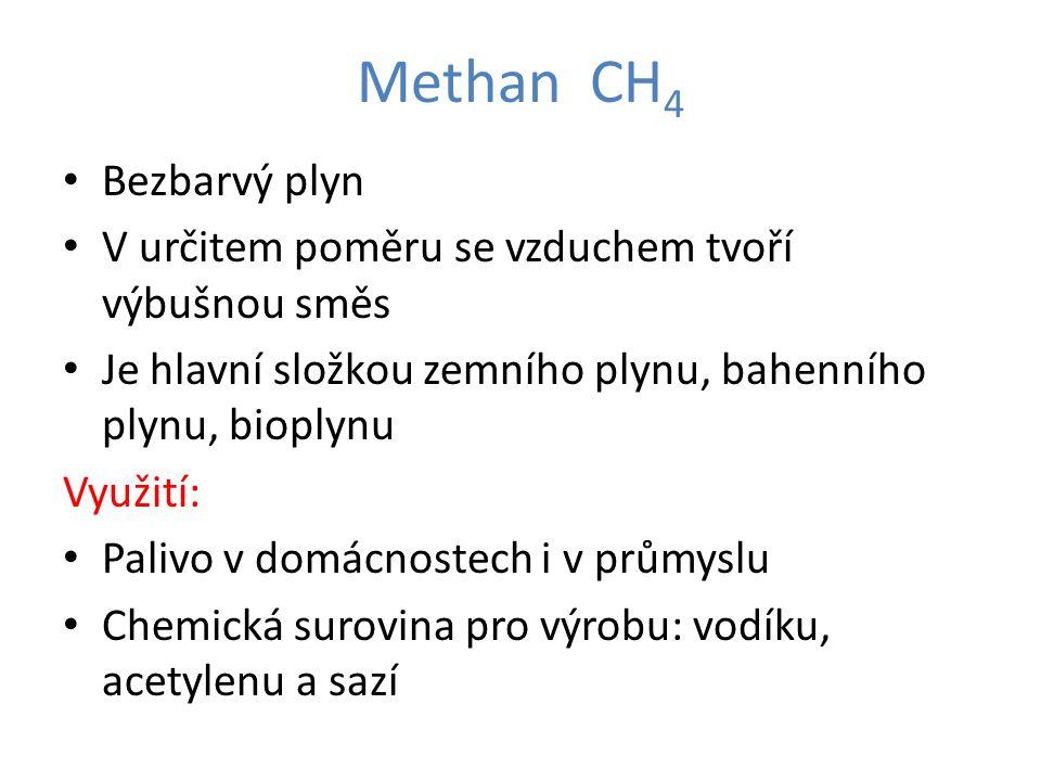 Methan CH4 Bezbarvý plyn