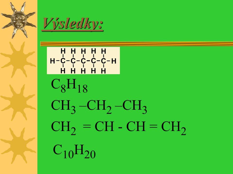 Výsledky: C8H18 CH3 –CH2 –CH3 CH2 = CH - CH = CH2 C10H20