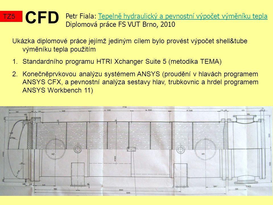 CFD TZ5. Petr Fiala: Tepelně hydraulický a pevnostní výpočet výměníku tepla. Diplomová práce FS VUT Brno, 2010.