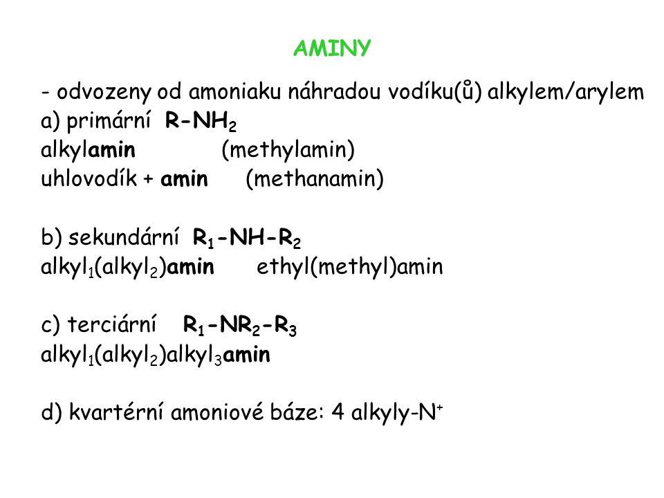 AMINY - odvozeny od amoniaku náhradou vodíku(ů) alkylem/arylem. a) primární R-NH2. alkylamin (methylamin)