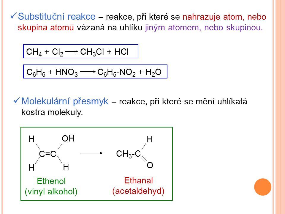 Substituční reakce – reakce, při které se nahrazuje atom, nebo skupina atomů vázaná na uhlíku jiným atomem, nebo skupinou.