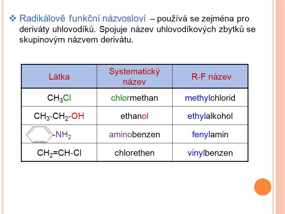 Radikálově funkční názvosloví – používá se zejména pro deriváty uhlovodíků. Spojuje název uhlovodíkových zbytků se skupinovým názvem derivátu.