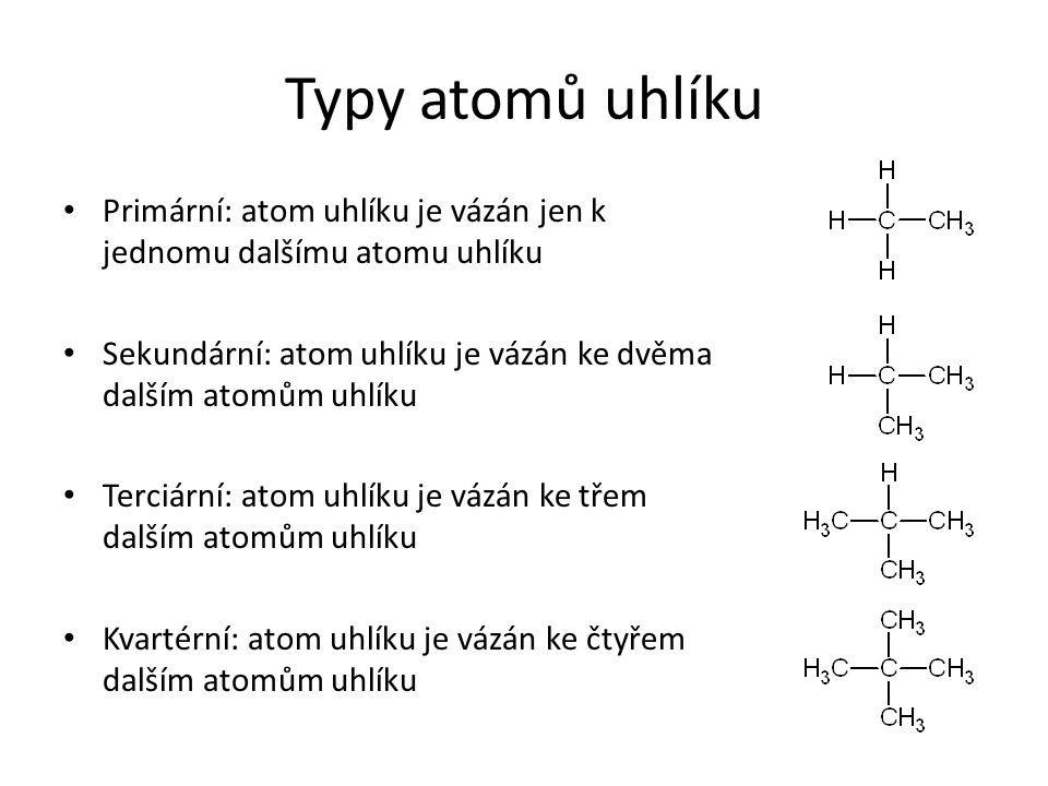 Typy atomů uhlíku Primární: atom uhlíku je vázán jen k jednomu dalšímu atomu uhlíku. Sekundární: atom uhlíku je vázán ke dvěma dalším atomům uhlíku.
