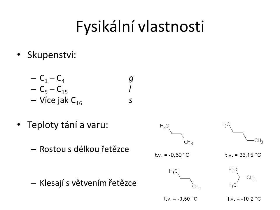 Fysikální vlastnosti Skupenství: Teploty tání a varu: C1 – C4 g