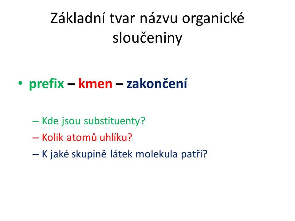 Základní tvar názvu organické sloučeniny