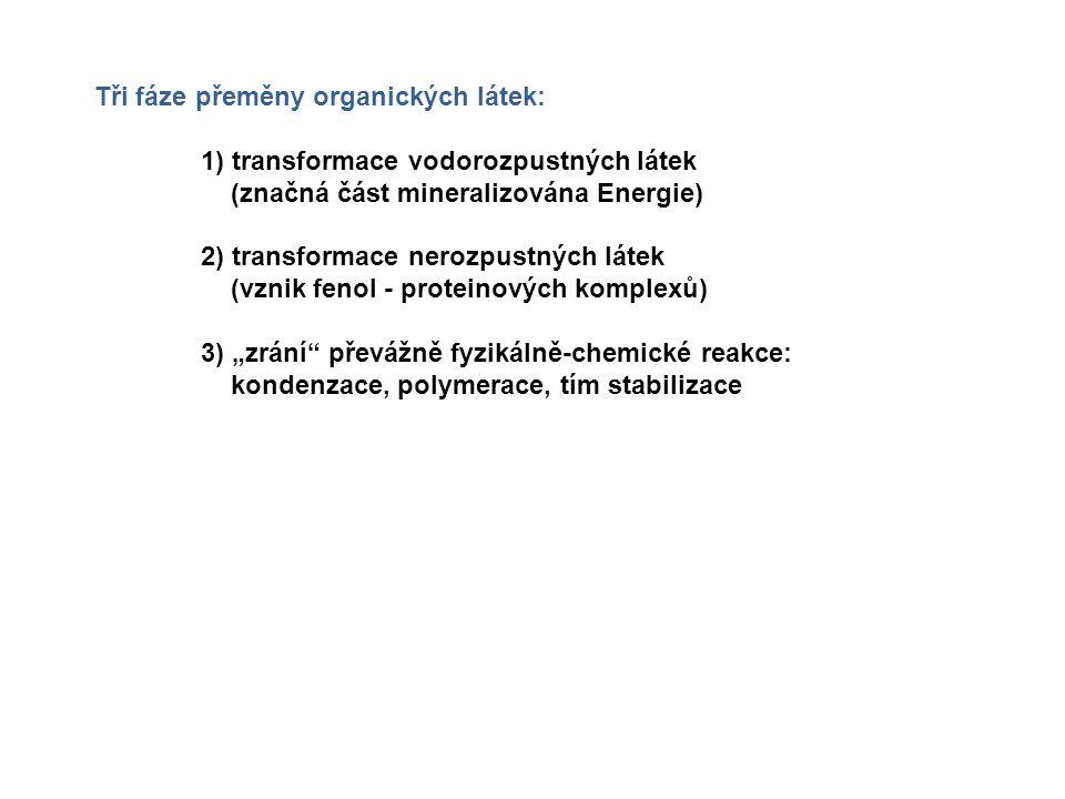 Tři fáze přeměny organických látek:
