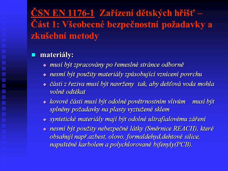 ČSN EN 1176-1 Zařízení dětských hřišť – Část 1: Všeobecné bezpečnostní požadavky a zkušební metody