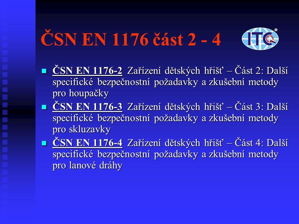 ČSN EN 1176 část 2 - 4 ČSN EN 1176-2 Zařízení dětských hřišť – Část 2: Další specifické bezpečnostní požadavky a zkušební metody pro houpačky.