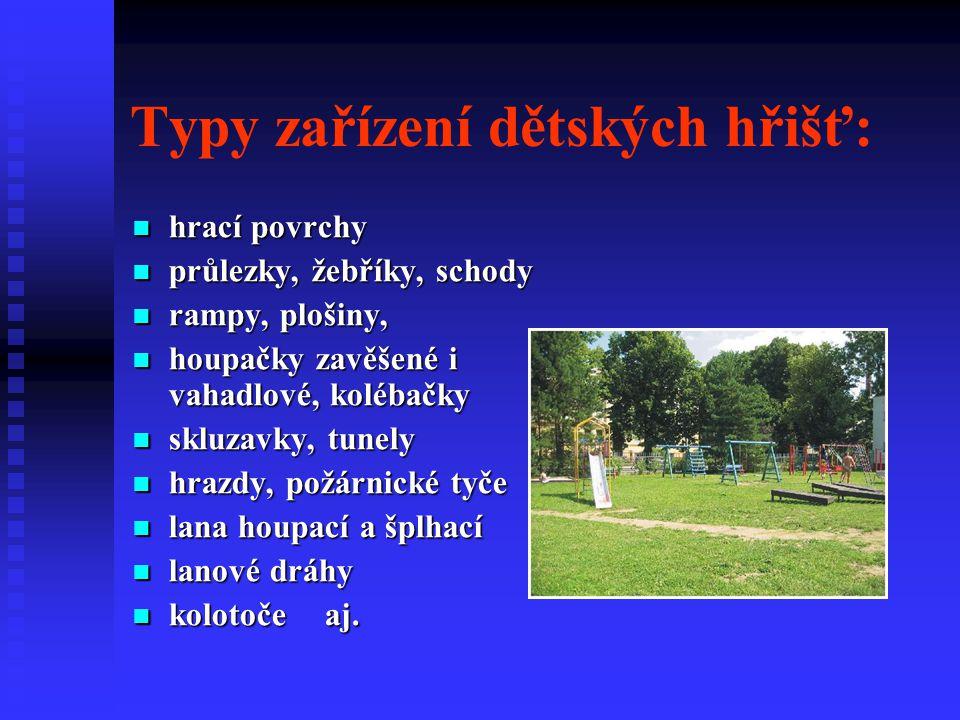 Typy zařízení dětských hřišť: