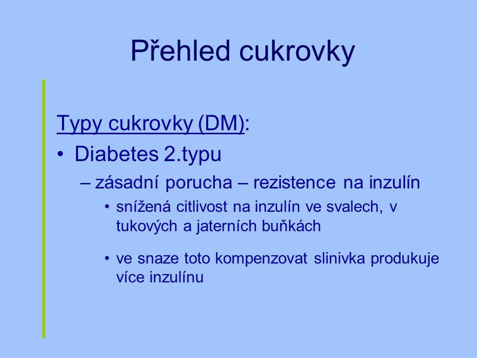 Přehled cukrovky Typy cukrovky (DM): Diabetes 2.typu