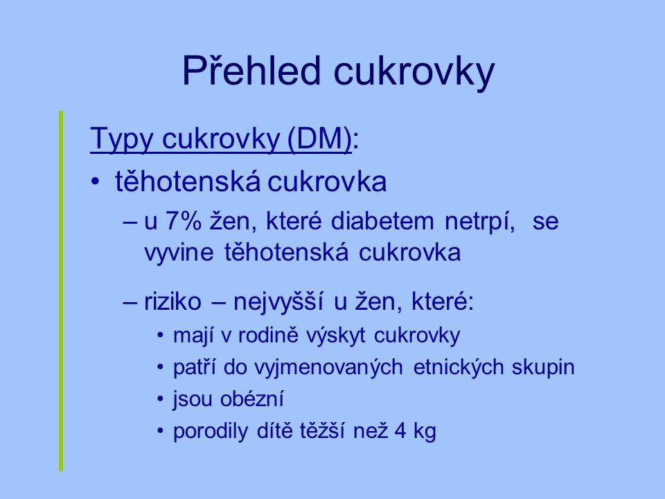 Přehled cukrovky Typy cukrovky (DM): těhotenská cukrovka