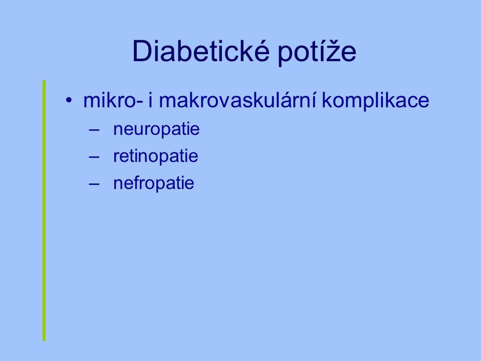 Diabetické potíže mikro- i makrovaskulární komplikace neuropatie
