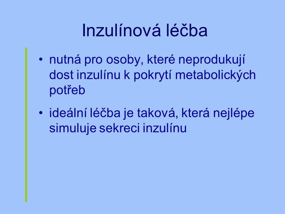 Inzulínová léčba nutná pro osoby, které neprodukují dost inzulínu k pokrytí metabolických potřeb.