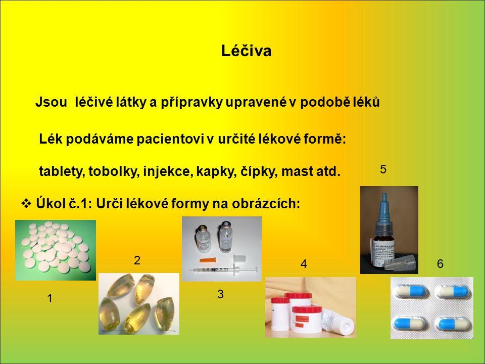 Léčiva Jsou léčivé látky a přípravky upravené v podobě léků