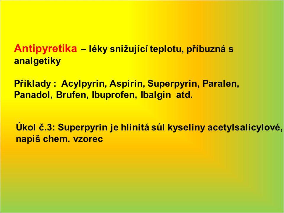 Antipyretika – léky snižující teplotu, příbuzná s analgetiky