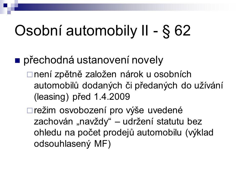 Osobní automobily II - § 62