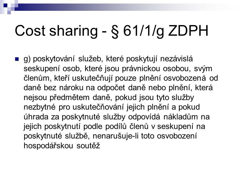 Cost sharing - § 61/1/g ZDPH