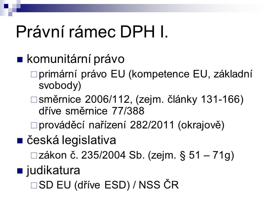 Právní rámec DPH I. komunitární právo česká legislativa judikatura