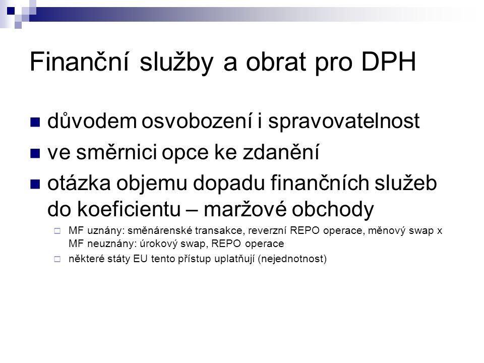 Finanční služby a obrat pro DPH