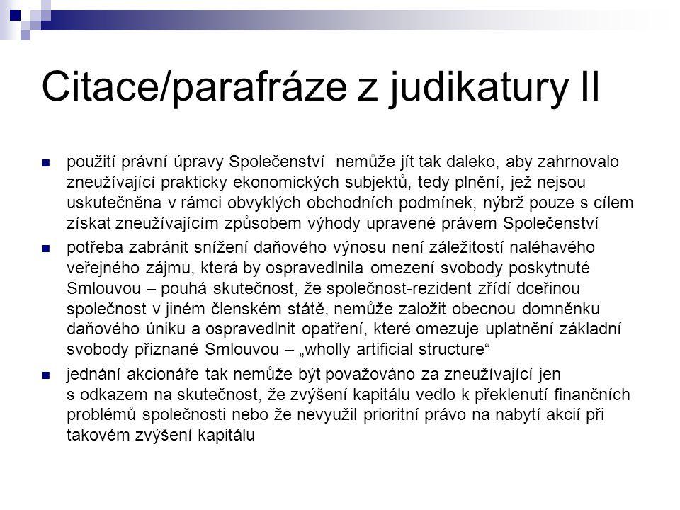 Citace/parafráze z judikatury II