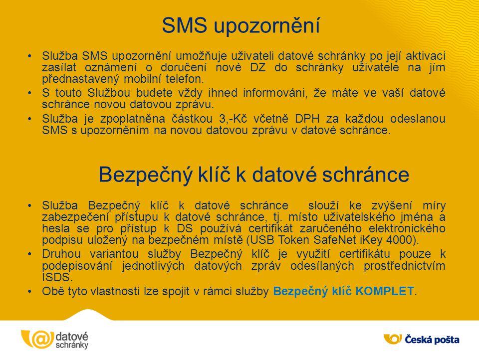 SMS upozornění Bezpečný klíč k datové schránce