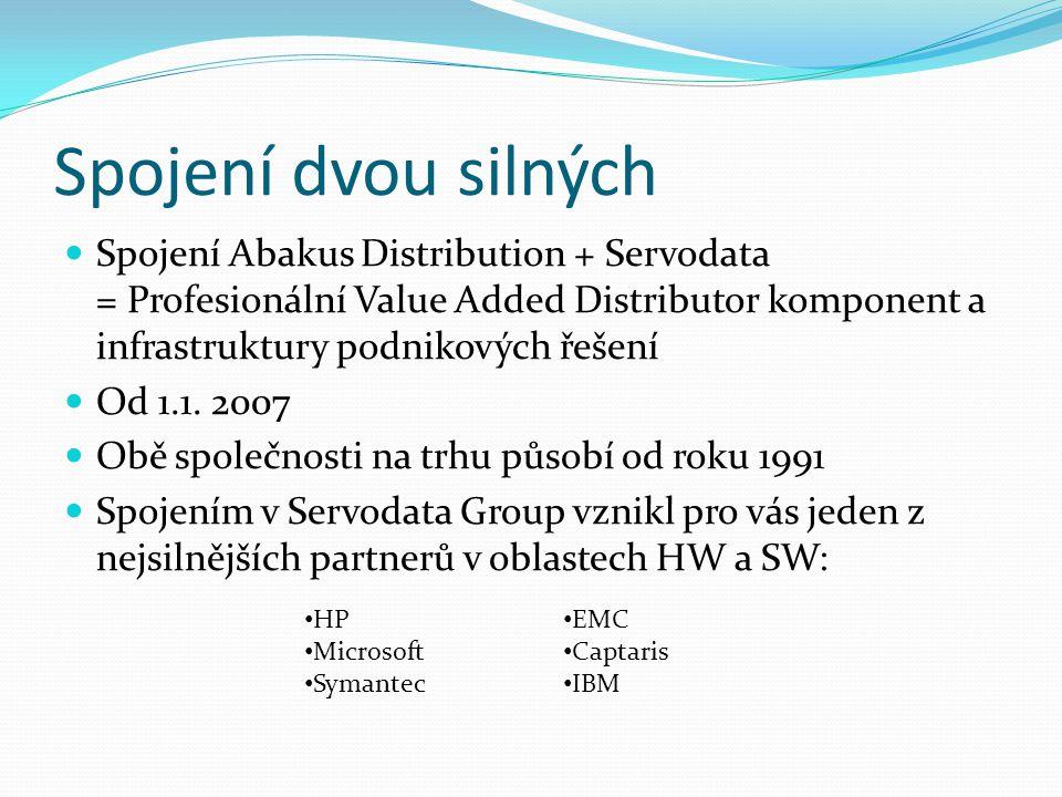Spojení dvou silných Spojení Abakus Distribution + Servodata = Profesionální Value Added Distributor komponent a infrastruktury podnikových řešení.