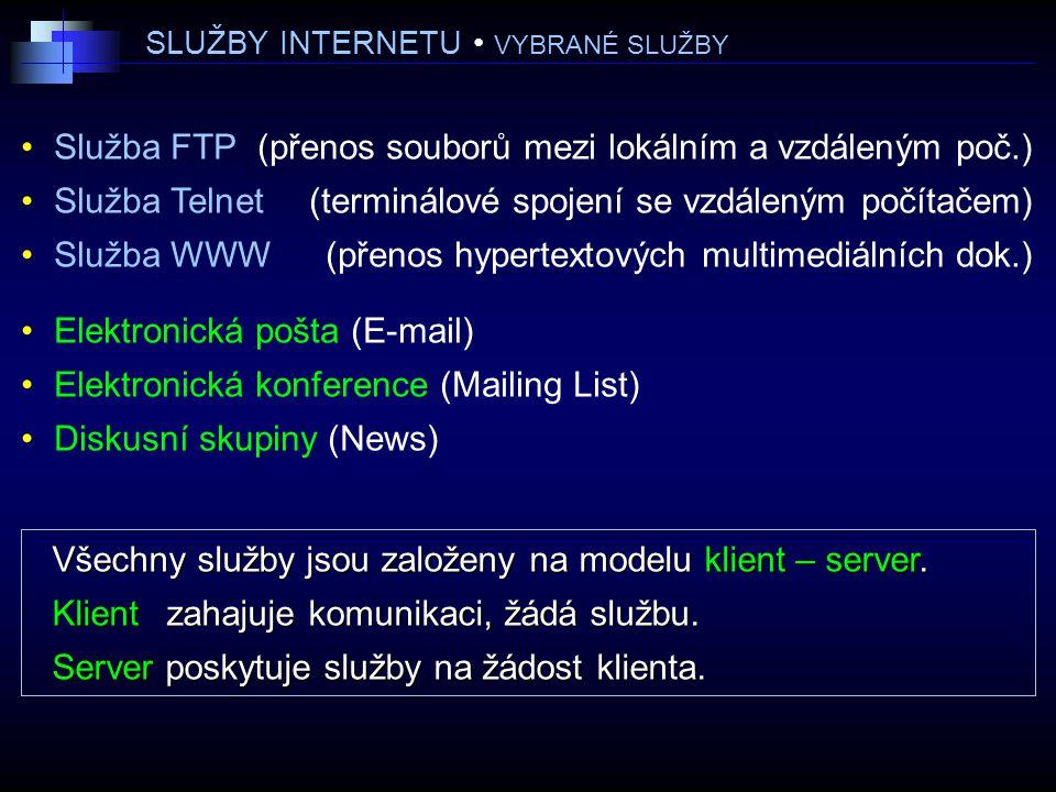 SLUŽBY INTERNETU • VYBRANÉ SLUŽBY