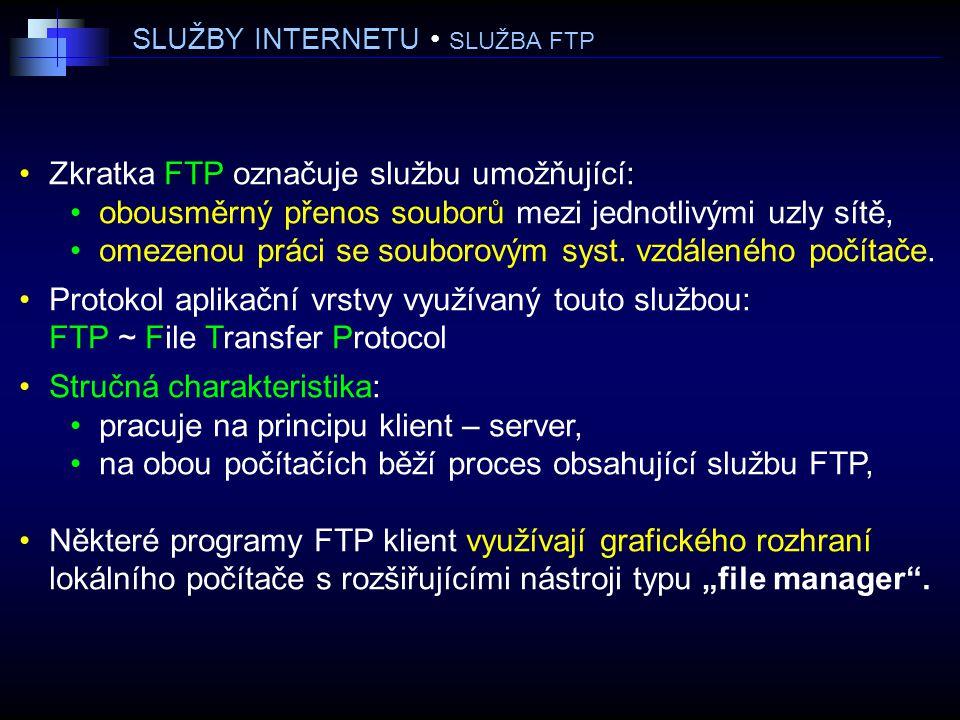 SLUŽBY INTERNETU • SLUŽBA FTP