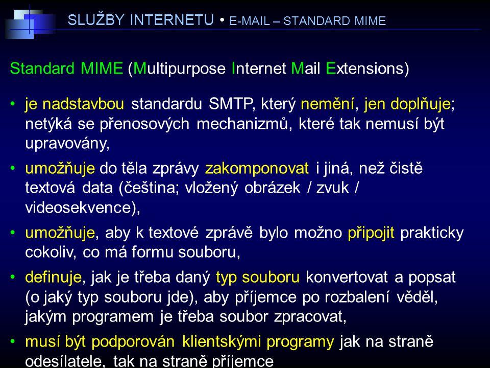 SLUŽBY INTERNETU • E-MAIL – STANDARD MIME