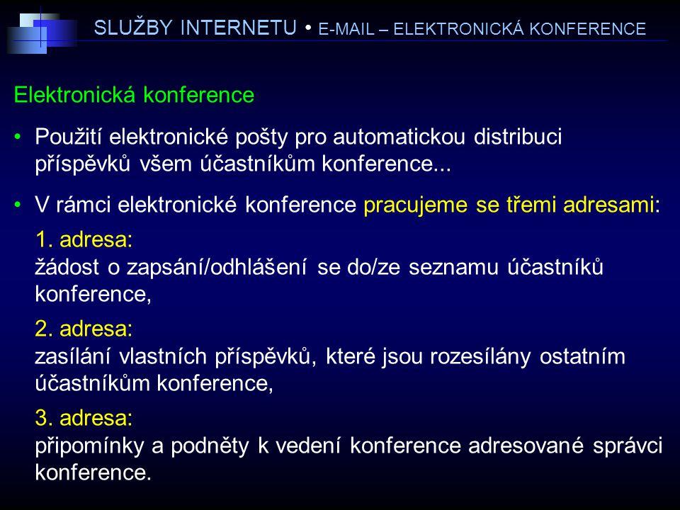 SLUŽBY INTERNETU • E-MAIL – ELEKTRONICKÁ KONFERENCE