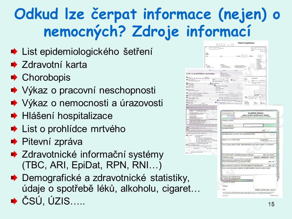 Odkud lze čerpat informace (nejen) o nemocných Zdroje informací