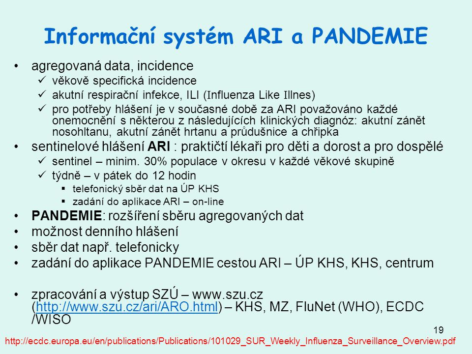 Informační systém ARI a PANDEMIE