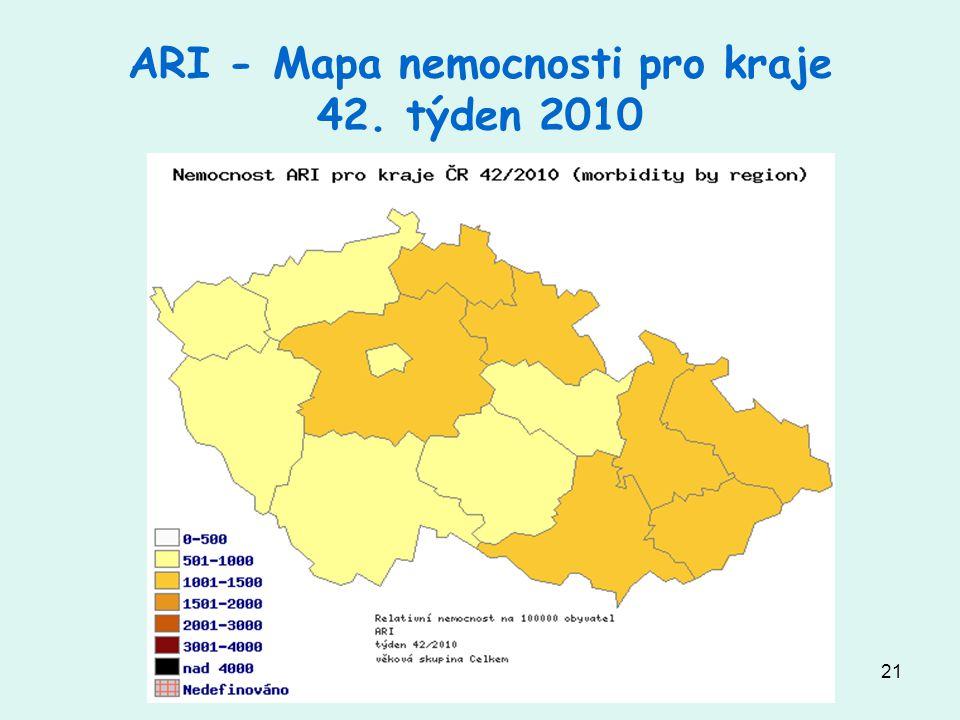 ARI - Mapa nemocnosti pro kraje 42. týden 2010