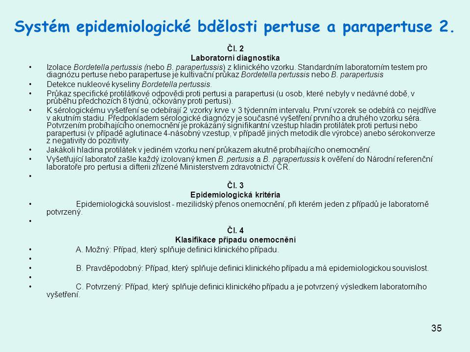 Systém epidemiologické bdělosti pertuse a parapertuse 2.