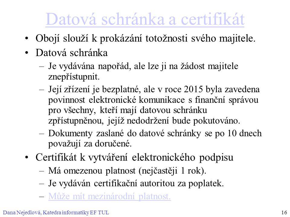 Datová schránka a certifikát