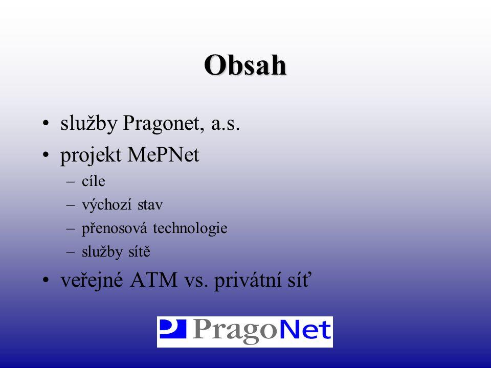 Obsah služby Pragonet, a.s. projekt MePNet