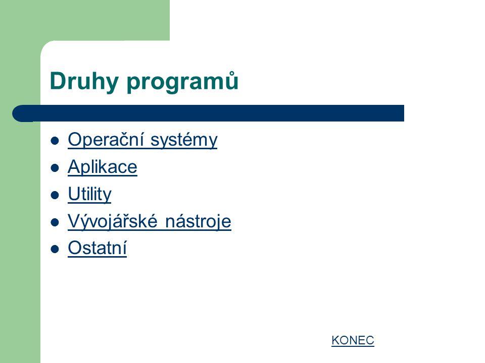 Druhy programů Operační systémy Aplikace Utility Vývojářské nástroje