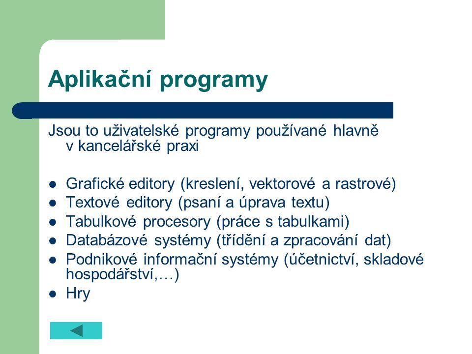 Aplikační programy Jsou to uživatelské programy používané hlavně v kancelářské praxi. Grafické editory (kreslení, vektorové a rastrové)