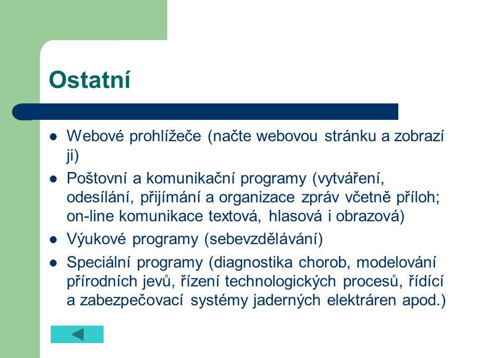 Ostatní Webové prohlížeče (načte webovou stránku a zobrazí ji)