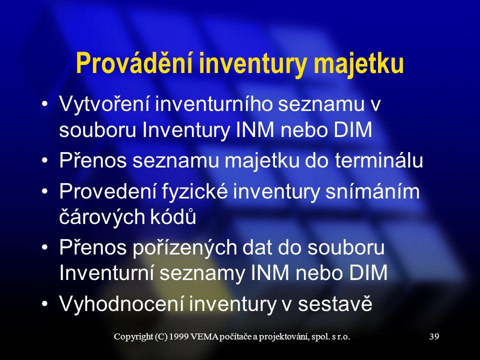 Provádění inventury majetku